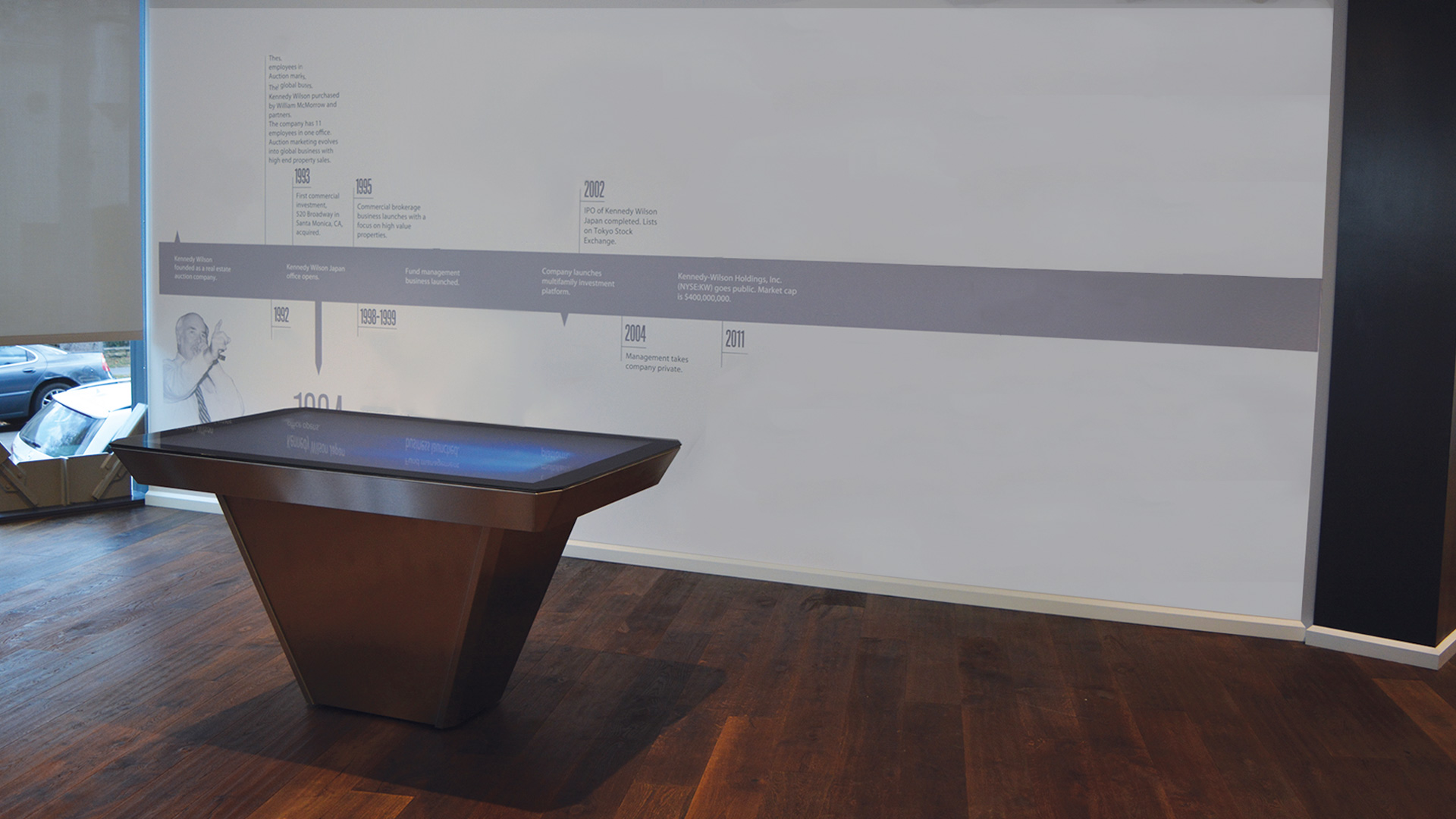 High End Touch Table with Stainless Steel and Wood Finishes by Horizon Display