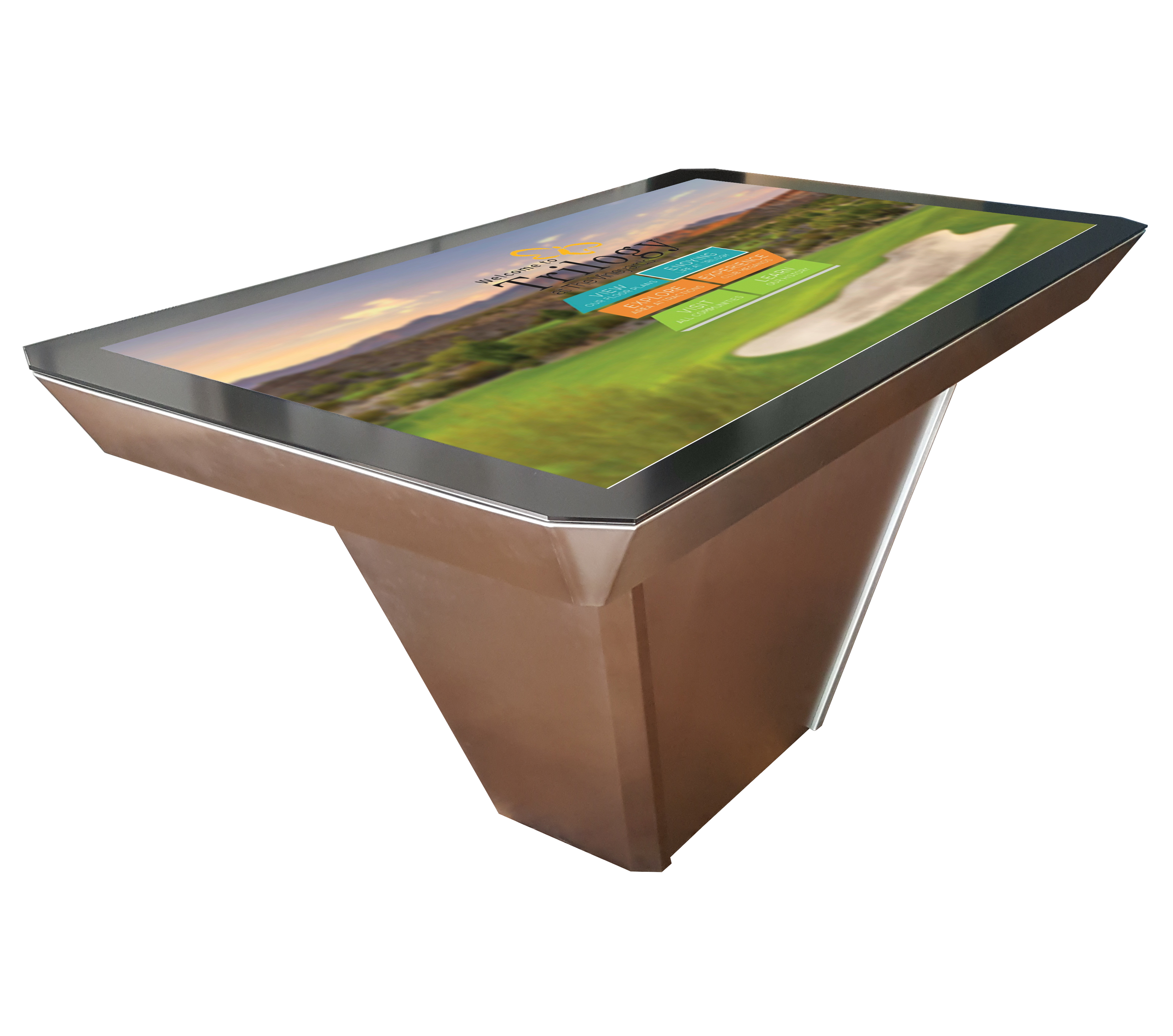 Interactive Touch Table with Fuse Touch Software by Horizon Display Wood Grain and Metal