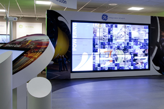 "Interactive 3x3 46"" Video Wall and 46"" touchscreen Kiosks by Horizon Display"