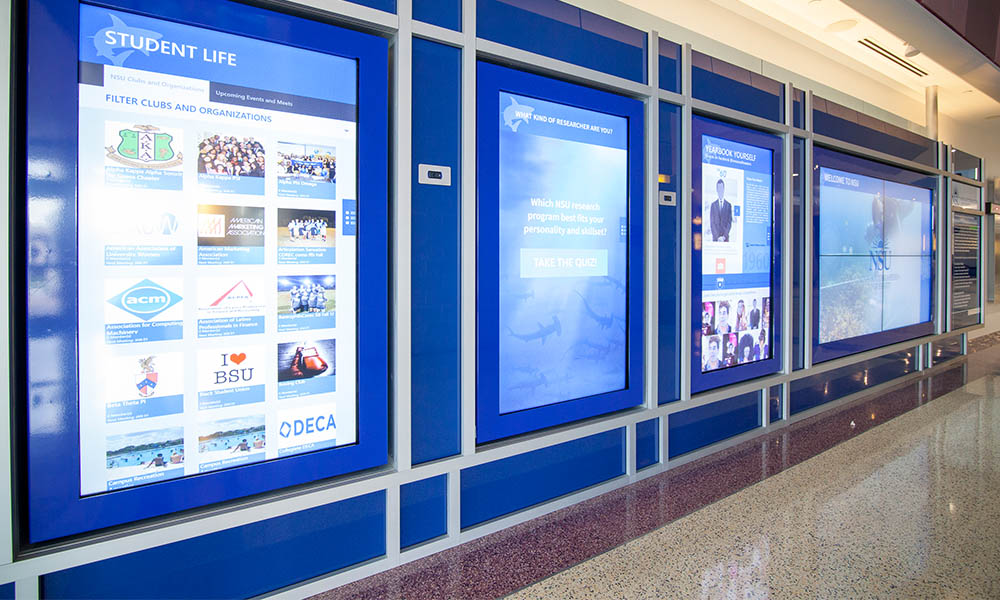 Custom Interactive Touch Software Application and Video Wall for Higher Ed University by Horizon Display