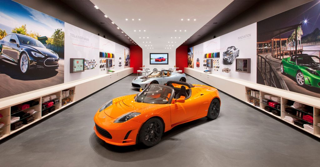 Automotive Dealership Showroom Touch Monitor Touchscreen Experience by Horizon Display Tesla