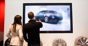 Automotive Dealership Showroom Interactive Touchscreen Experience by Horizon Display Tesla